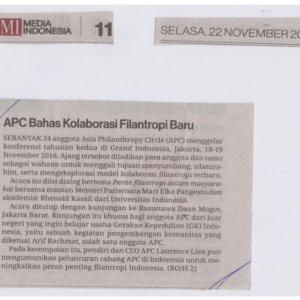 20161122_MediaIndonesia<br><h6>APC Bahas Kolaborasi Filantropi Baru</h6>