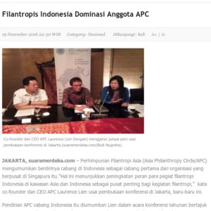 20161119_SuaraMerdeka<br/><h6>Filantropis Indonesia Dominasi Anggota...</h6>