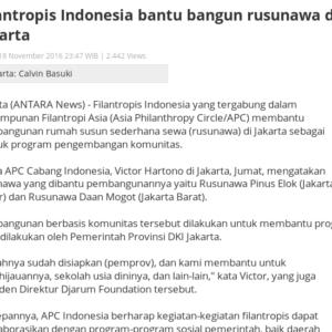 20161118_Antara<br/><h6>Filantropis Indonesia bantu bangun...</h6>