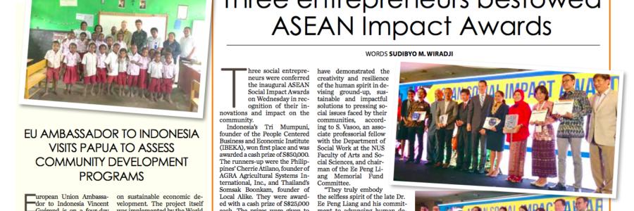 20180323_JakartaPost<br/><h6>Three entrepreneurs bestowed ASEAN Impact Awards</h6>