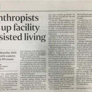 20180321_TheStraitsTimes<br/><h6>Philanthropists to set up facility for assisted living.</h6>